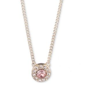 Givenchy pink stone pave crystals gold necklace 🖋